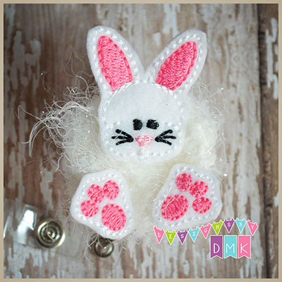 Chubby Bunny with Paws Brite Pink Felt Badge Reel