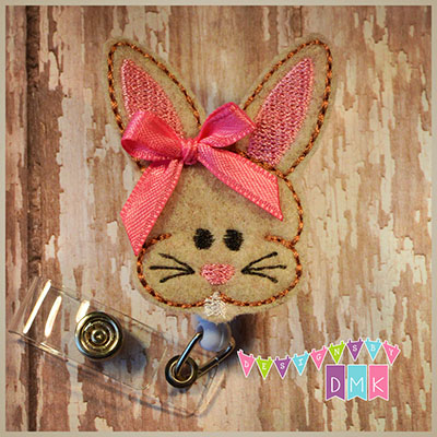 Chubby Bunny Tan Felt Badge Reel