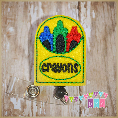 Box of Crayons Felt Badge Reel