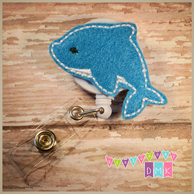 Dolphin Felt Badge Reel