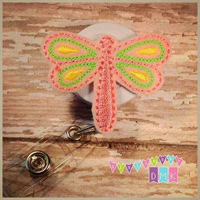 Pink Dragonfly Felt Badge Reel