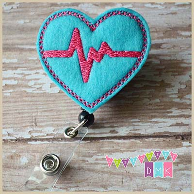 EKG Heart Brite Blue with Fuchsia Felt Badge Reel