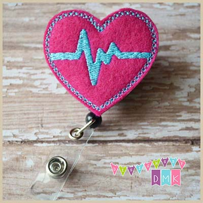 EKG Heart Fuchsia with Brite Blue Felt Badge Reel