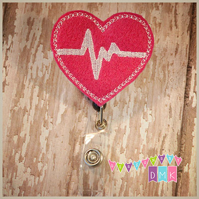 EKG Fuchsia with White Felt Badge Reel