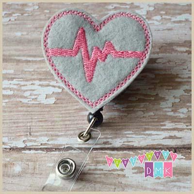 EKG Heart Grey with Light Pink Felt Badge Reel