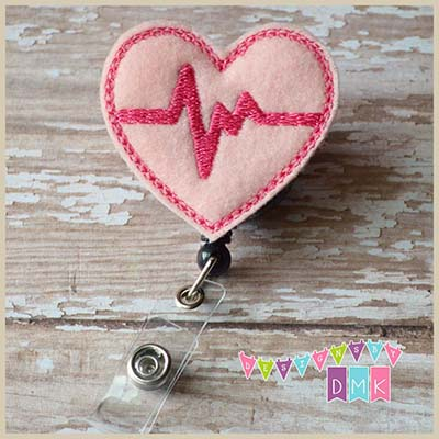 EKG Heart Light Pink with Dark Pink Felt Badge Reel