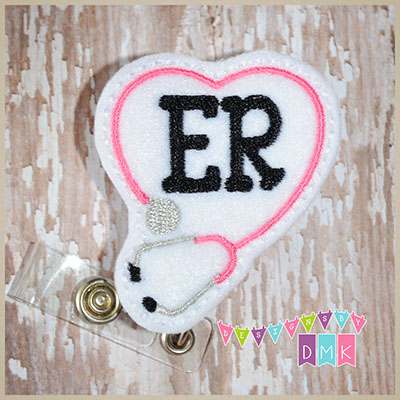 ER Stethoscope Heart Pink Felt Badge Reel