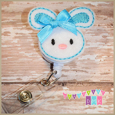 Easter Bunny Brite Blue Felt Badge Reel