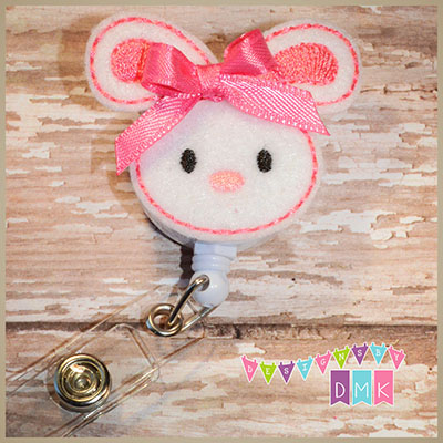 Easter Bunny Brite Pink Felt Badge Reel