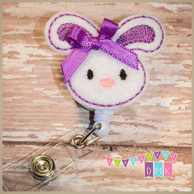 Easter Bunny Purple Felt Badge Reel