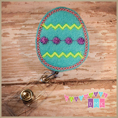 Chevron Easter Egg Brite Blue Felt Badge Reel
