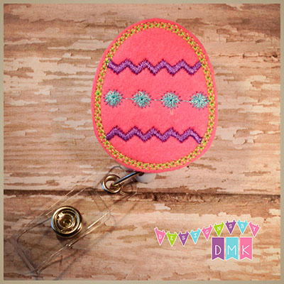 Chevron Easter Egg Brite Pink Felt Badge Reel
