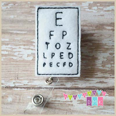 Eye Chart Felt Badge Reel
