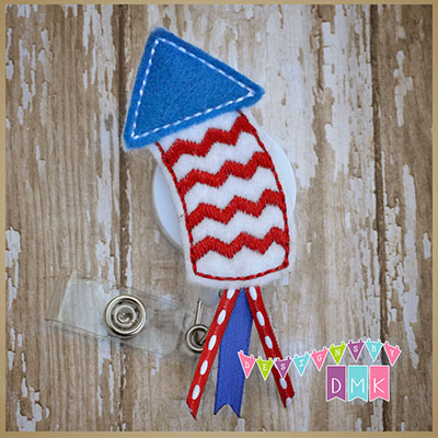 Chevron Firecracker Rocket Felt Badge Reel