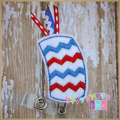 Chevron Firecracker Felt Badge Reel