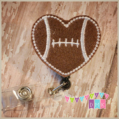 Football Heart Felt Badge Reel