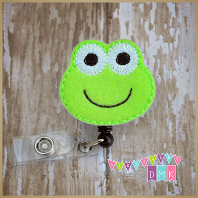 Froggy Face Felt Badge Reel