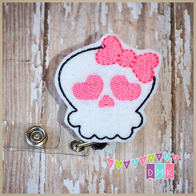 Girly Skull Pink Felt Badge Reel