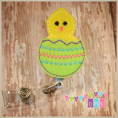 Hatching Chick Easter Egg Lime Green Felt Badge Reel