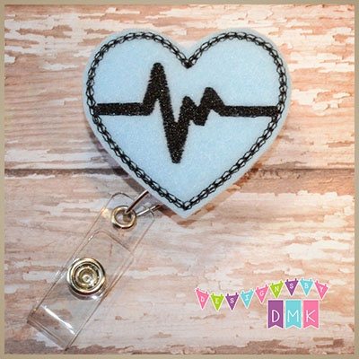 EKG Heart Light Blue with Black Felt Badge Reel