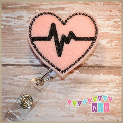 EKG Heart Light Pink with Black Felt Badge Reel