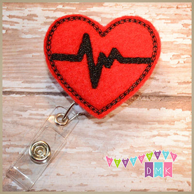 EKG Heart Red with Black Felt Badge Reel