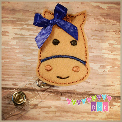 Horse - Tan with Navy Felt Badge Reel