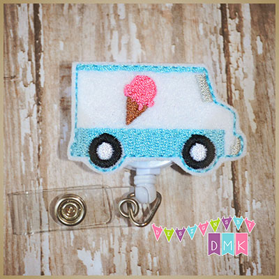 Ice Cream Truck Felt Badge Reel