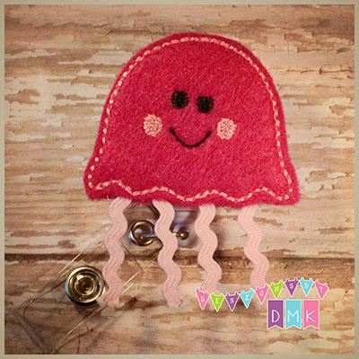 Jellyfish Fuchsia & Pink Felt Badge Reel