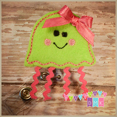 Jellyfish Lime & Pink Felt Badge Reel