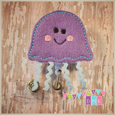 Jellyfish Purple & Blue Felt Badge Reel