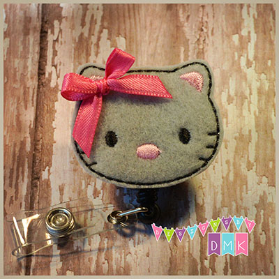 Grey Kitty Cat Felt Badge Reel