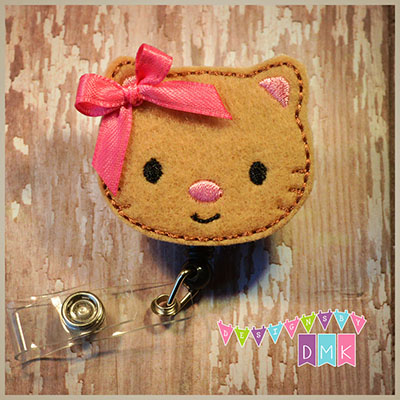 Tan Kitty Cat Felt Badge Reel