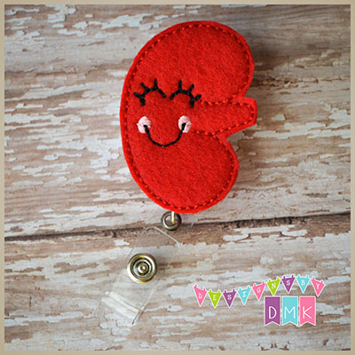 Kynnedy the Kidney Felt Badge Reel