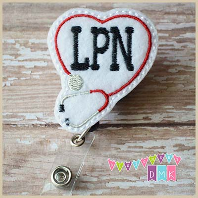 LPN Stethoscope Heart Red Felt Badge Reel
