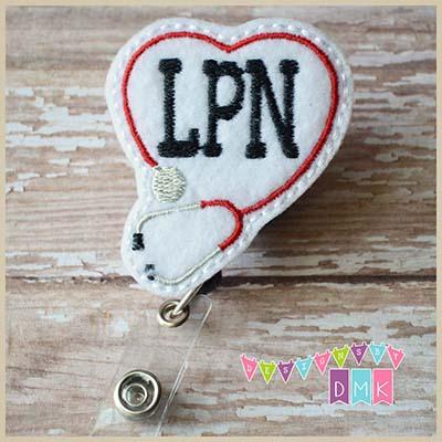 LPN Stethoscope Heart Red Felt Badge Reel