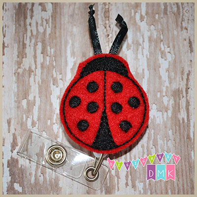 Ladybug Red Felt Badge Reel