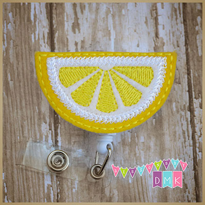 Lemon Slice Felt Badge Reel