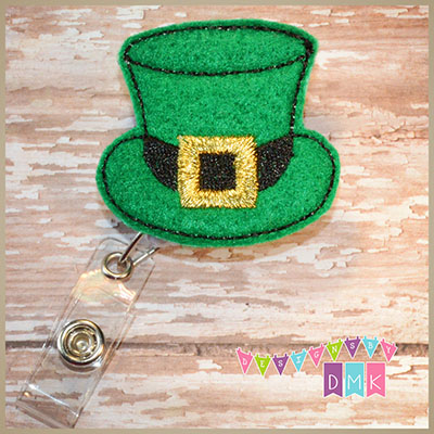 Leprechaun Hat with Gold Band Felt Badge Reel