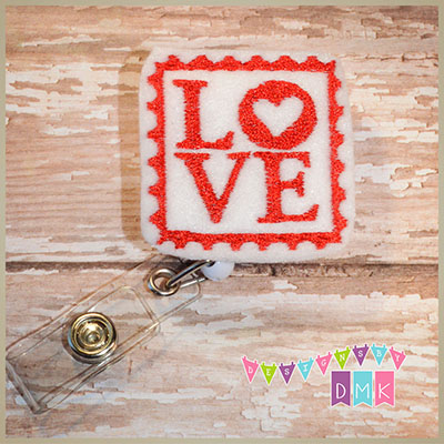 Love Stamp Felt Badge Reel