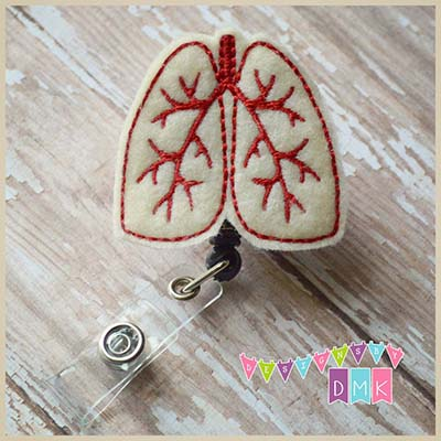 Lungs Cream with Red Felt Badge Reel