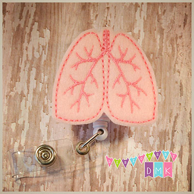 Lungs Light Pink with Dark Pink Felt Badge Reel