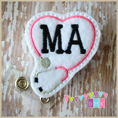MA Stethoscope Heart Pink Felt Badge Reel