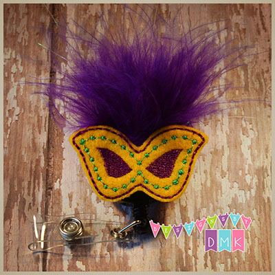 Mardi Gras Feathered Gold Mask Felt Badge Reel