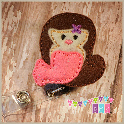 Mermaid Brown Hair Pink Tail Felt Badge Reel