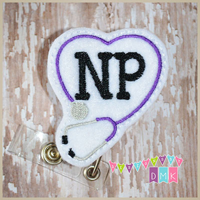 NP Stethoscope Heart Purple Felt Badge Reel