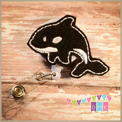 Orca Felt Badge Reel
