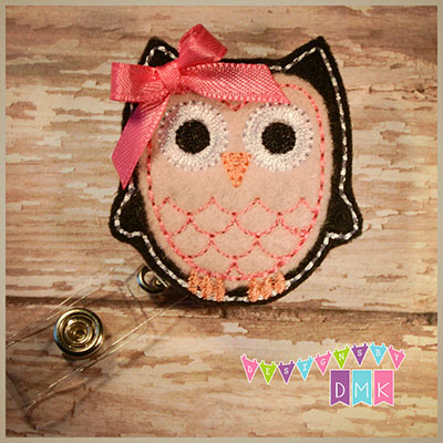 Owl - Black & Light Pink Felt Badge Reel