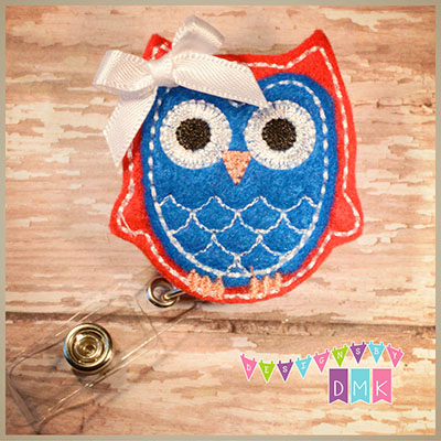 Owl - Red & Blue Felt Badge Reel