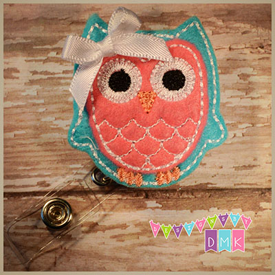 Owl - Brite Blue & Brite Pink Felt Badge Reel